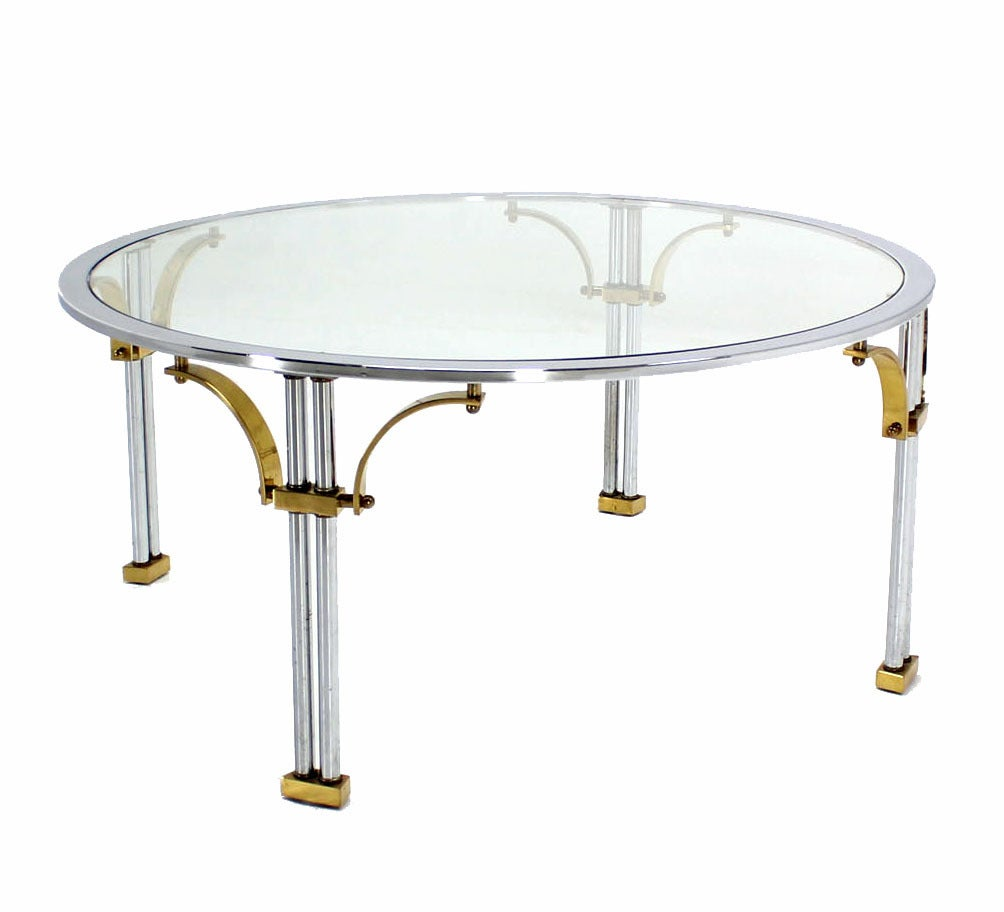 Mid Century Modern Chrome Brass and Glass Round Coffee Table In Excellent Condition For Sale In Elmwood Park, NJ