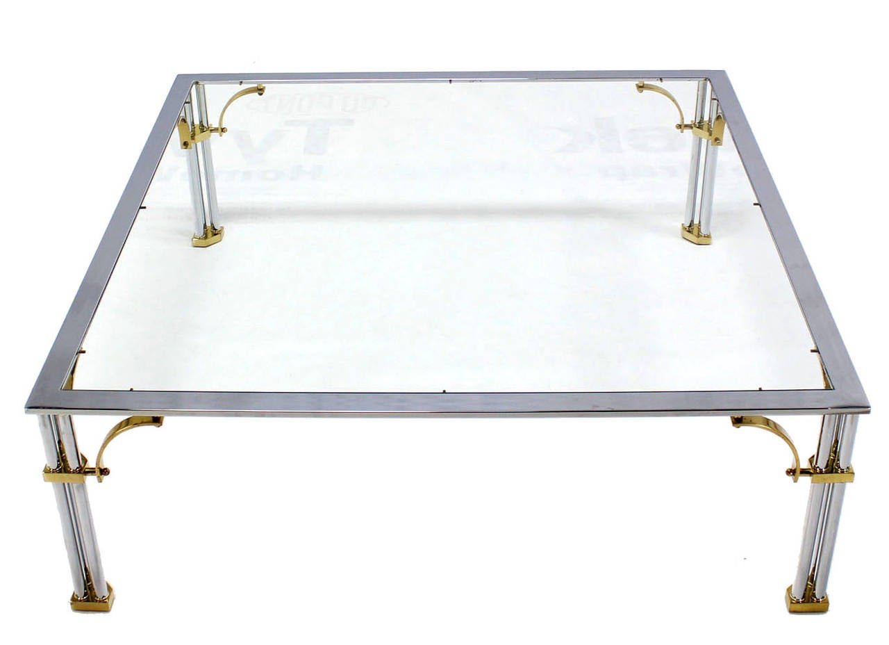 Large Square Mid-Century Modern Brass Chrome and Glass Coffee Table For Sale 5