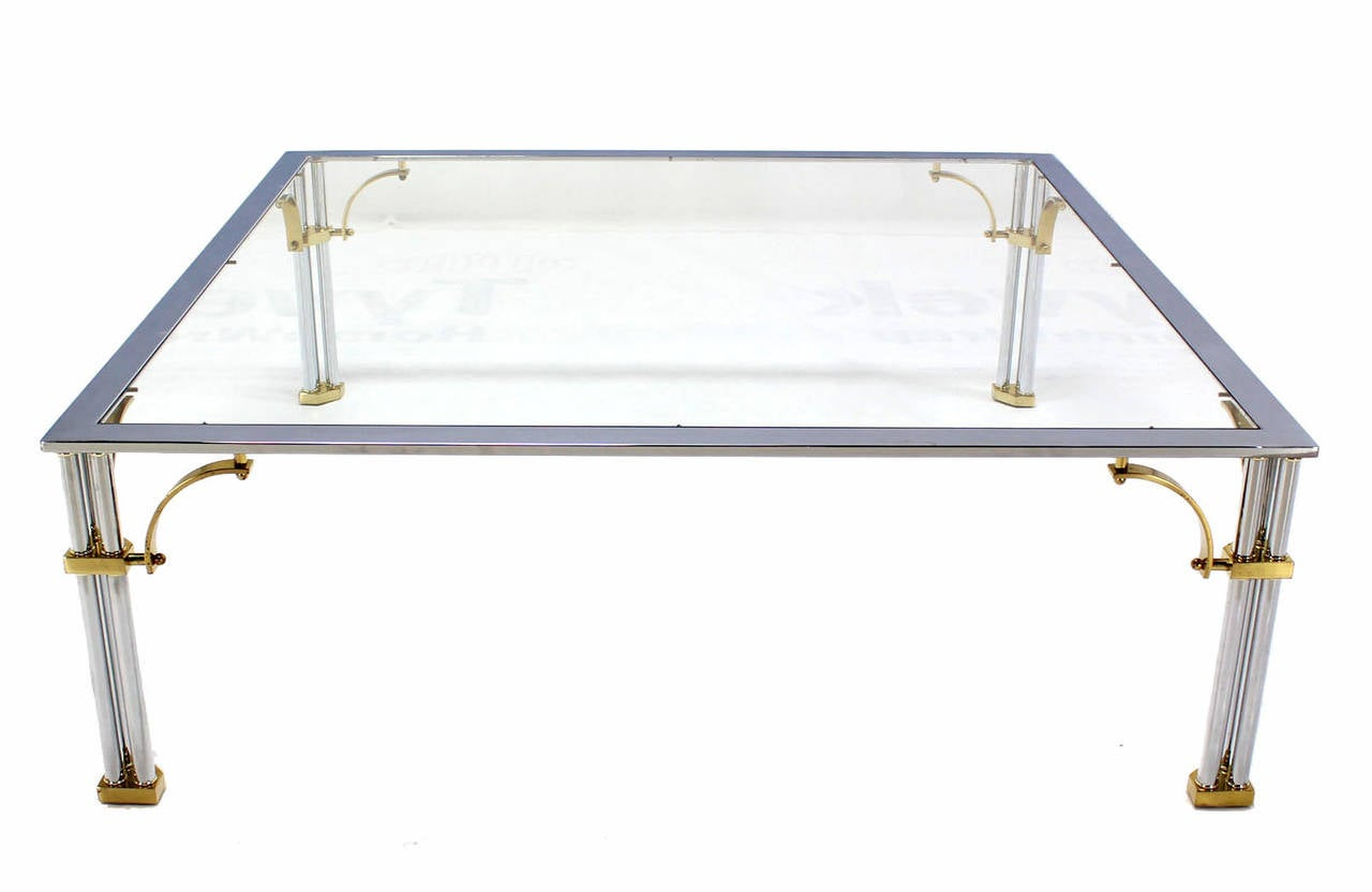 Large Square Mid Century Modern Brass Chrome And Glass Coffee Table For Sale At 1stdibs