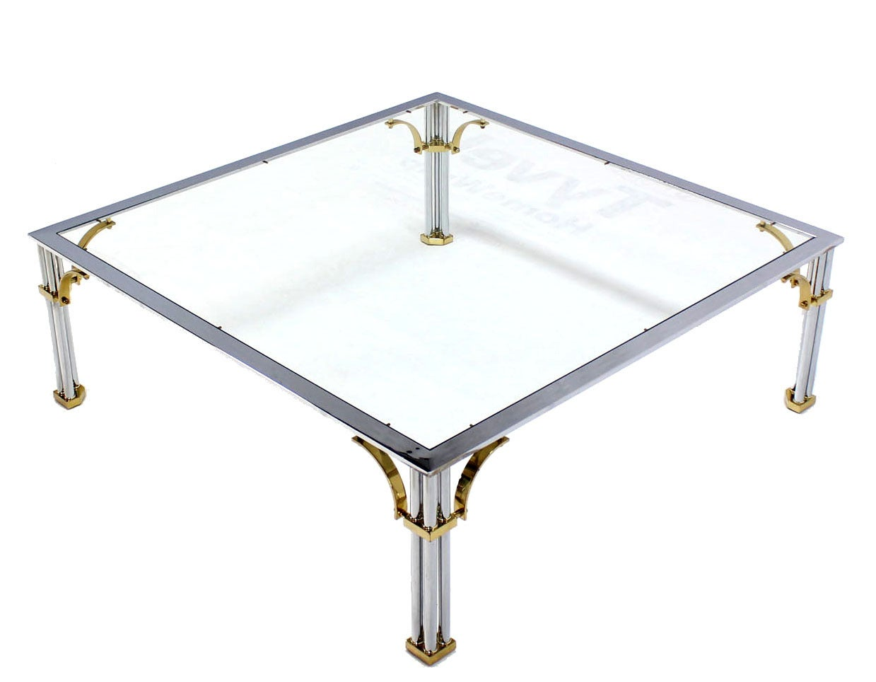 Large Square Mid Century Modern Brass Chrome And Glass
