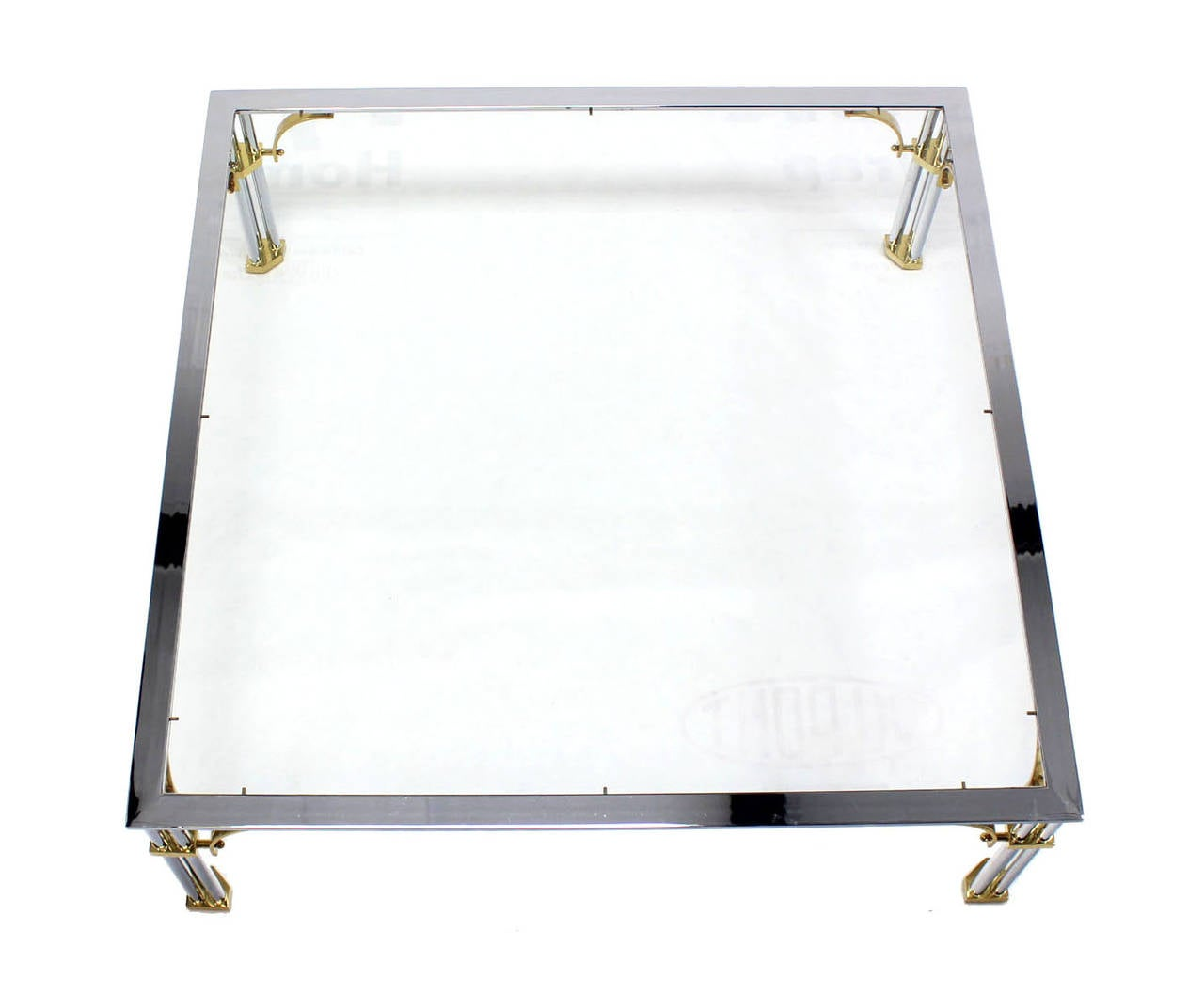 Large Square Mid-Century Modern Brass Chrome and Glass Coffee Table For Sale 2