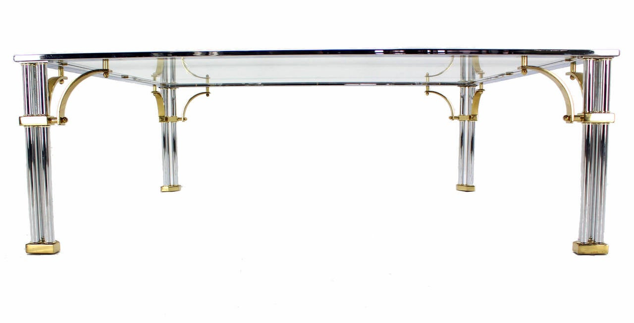 20th Century Large Square Mid-Century Modern Brass Chrome and Glass Coffee Table For Sale