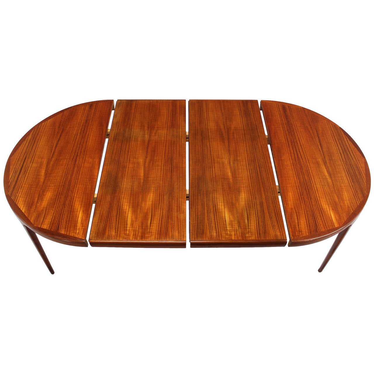 Danish mid century modern round teak dining table with two for Dining room tables with leaves
