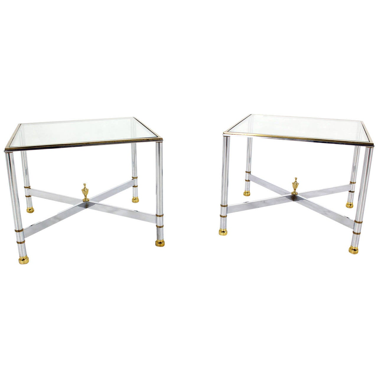 Pair of Mid Century Modern X Base End or Side Tables