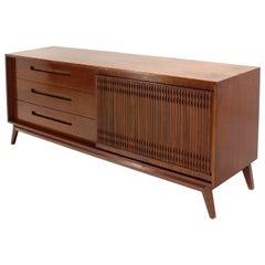Danish Mid Century Modern Walnut Long Credenza Dresser with Sliding Door