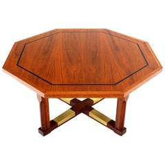 Mid Century Modern Walnut Hexagon Coffee Table with X-Base