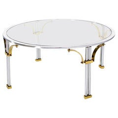 Mid Century Modern Chrome Brass and Glass Round Coffee Table