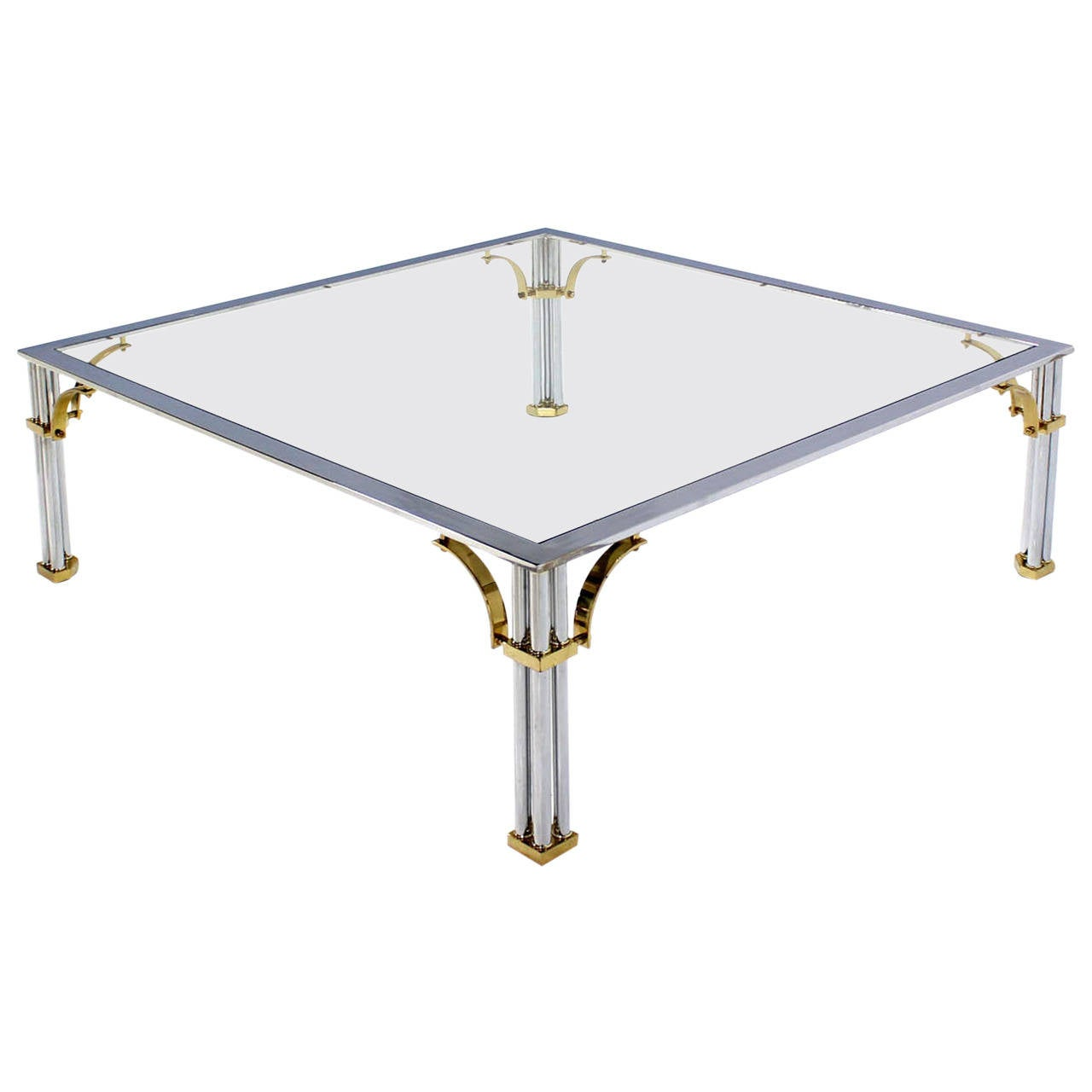 Large square mid century modern brass chrome and glass for Large glass coffee table