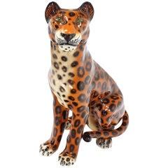 Tall Large Ceramic Porcelain Sculpture of a Cheetah Leopard Big Cat circa 1970s