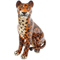 Tall Porcelain Sculpture of a Cheetah, circa 1970s