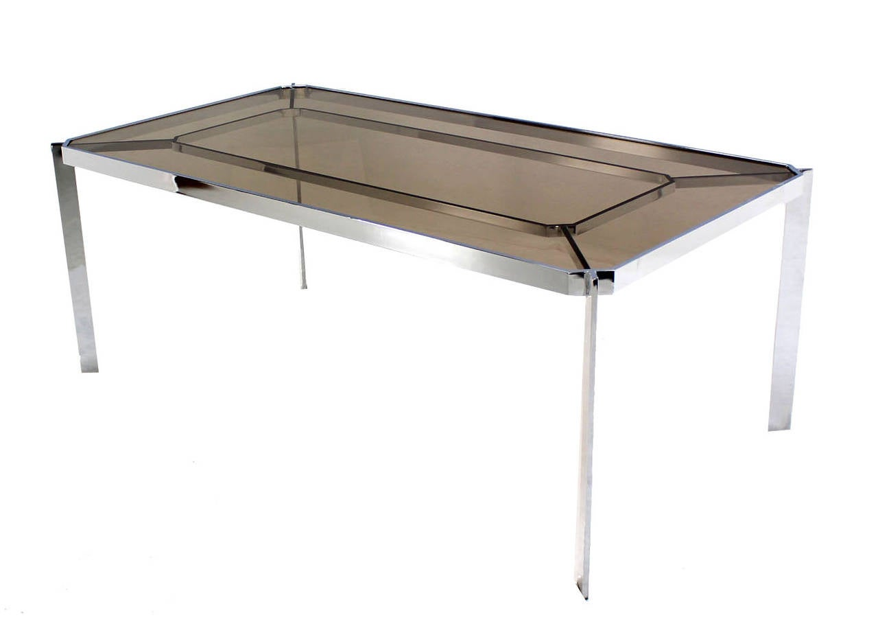 Mid Century Modern Chrome And Smoked Glass Top Dining