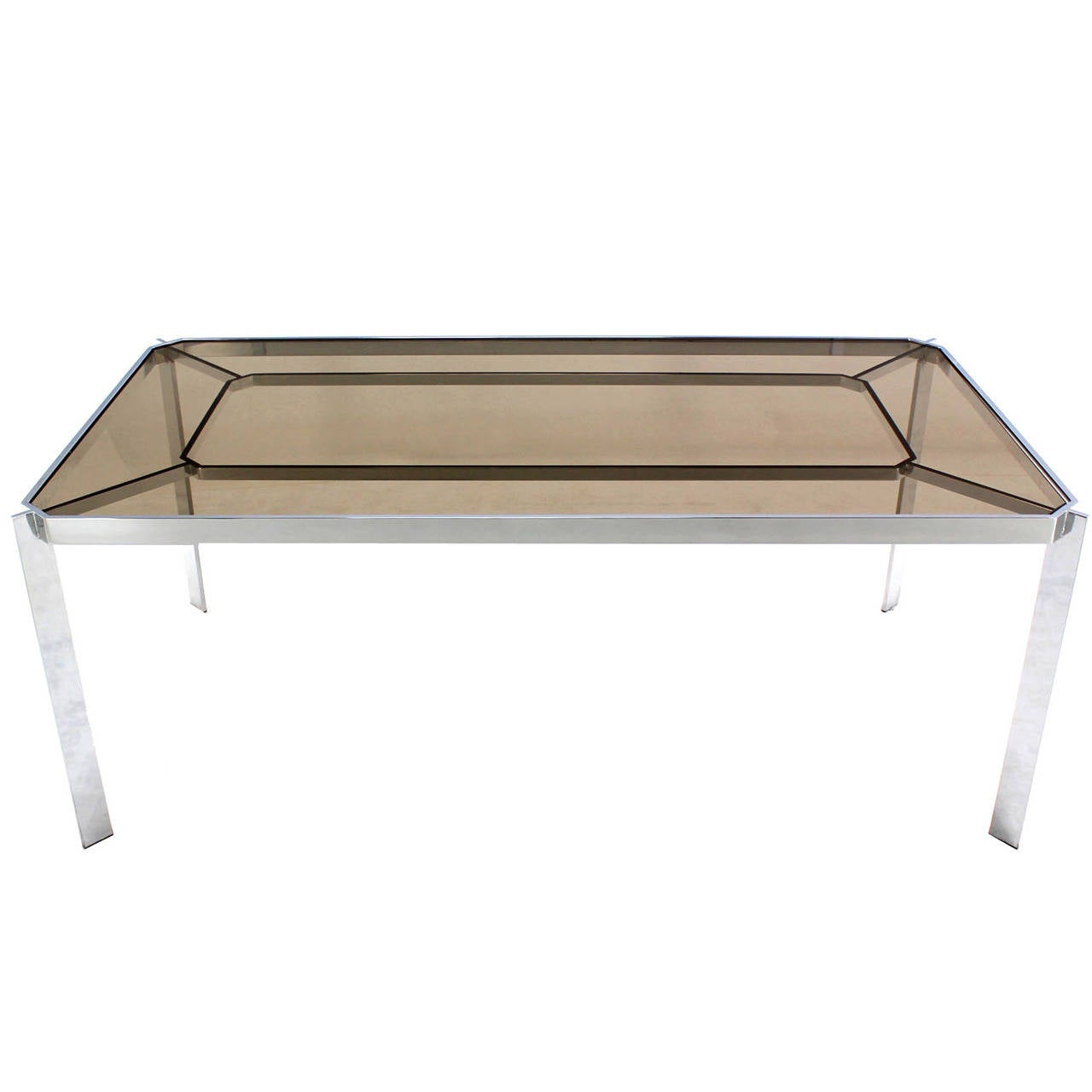 MidCentury Modern Chrome And Smoked GlassTop Dining Table By - Glass top mid century dining table