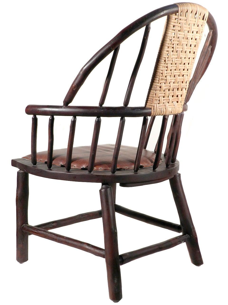 Oversized Handmade Hickory Windsor Chair Matching Pair
