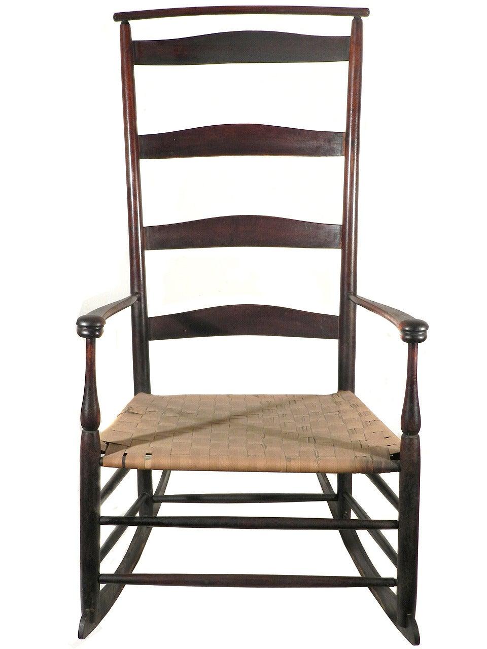 1890 Shaker 6 Mushroom Capped Rocker Chair With Shawl Bar