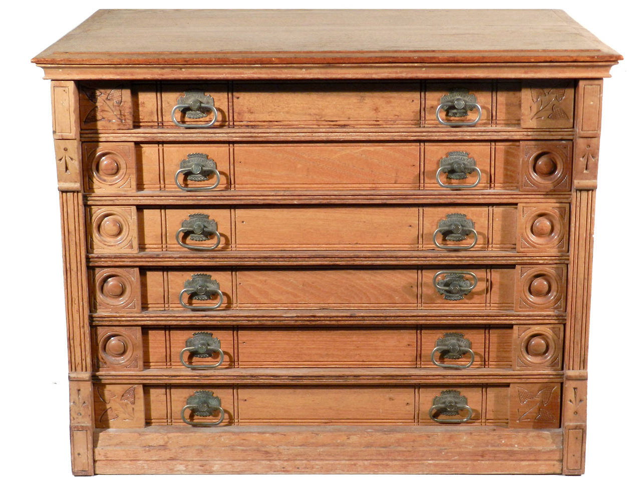 Beautiful Six-Drawer Spool Cabinet with Original Decals at 1stdibs