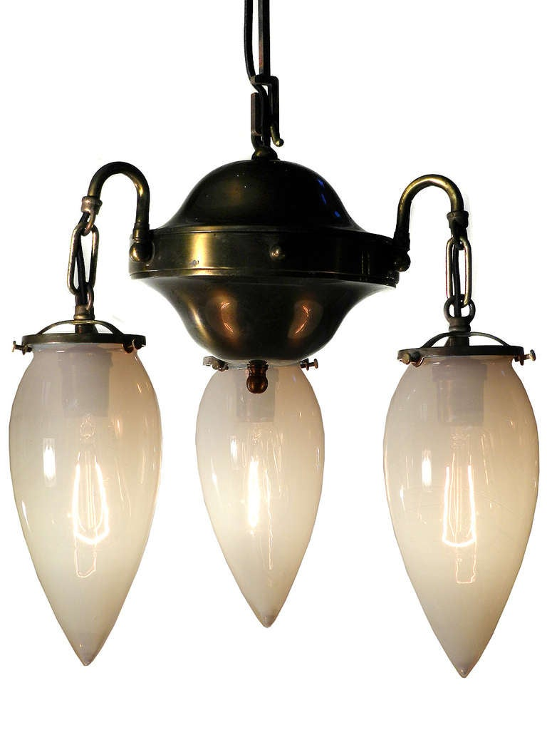 Elegant 3 Light Vaseline Glass Chandelier At 1stdibs