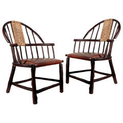 Oversized Handmade Hickory Windsor Chair, Matching Pair