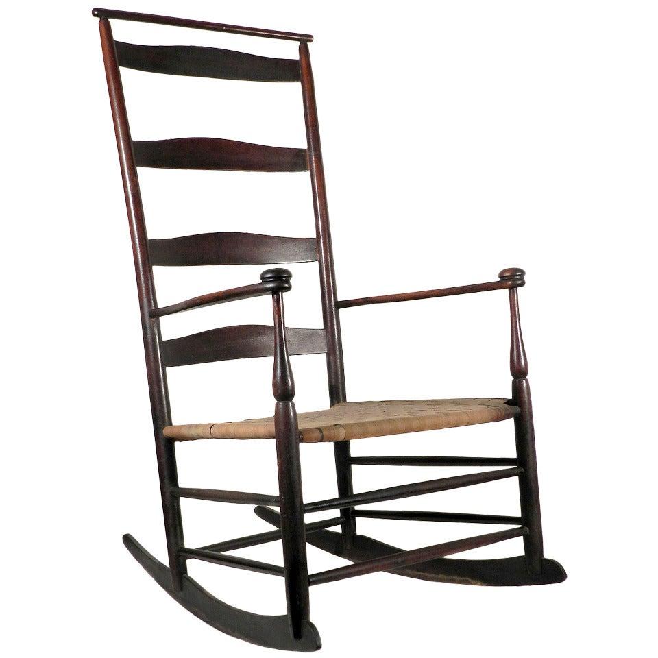 1890 Shaker 6 Mushroom Ced Rocker Chair With Shawl Bar 1
