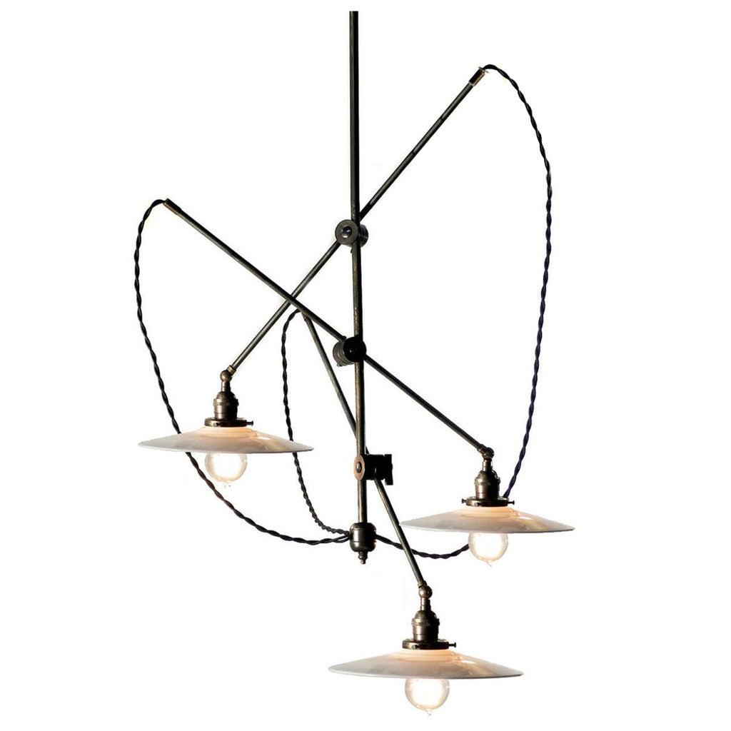 Articulated brass chandelier, 20th century