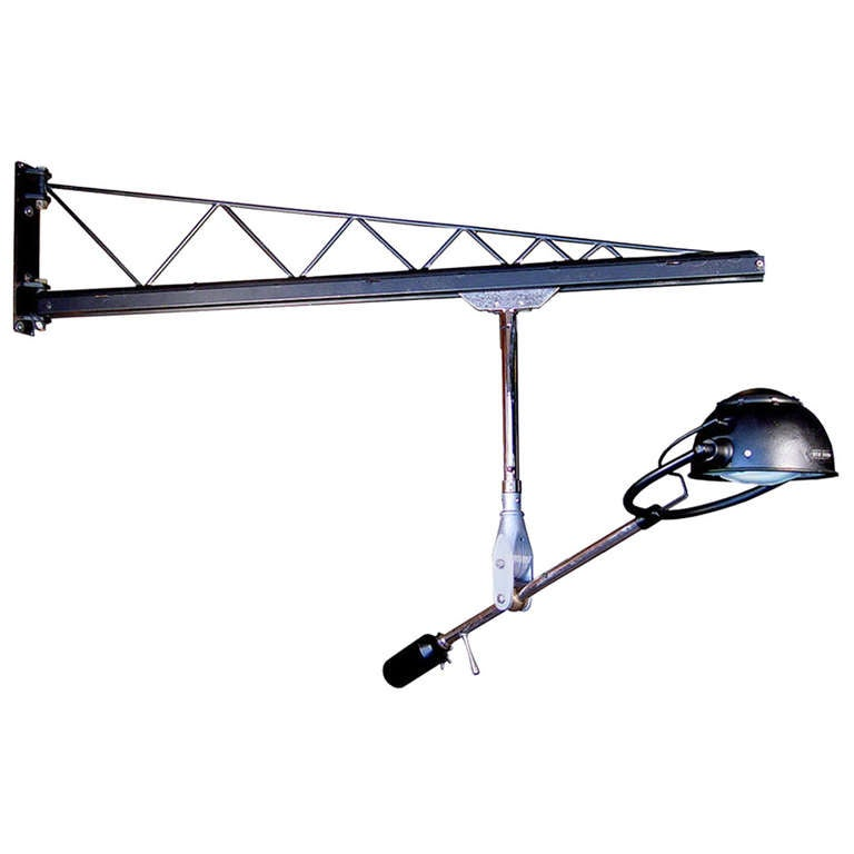 Wall Mounted Articulated Lamp : Swing Arm Crane - Rolling Rail Articulated Lamp at 1stdibs