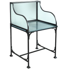 French Florists Iron and Frosted Glass Workbench
