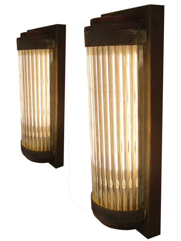 Glass Rod Wall Sconces : Copper and Glass Rod Wall Sconces - Matching Pair at 1stdibs