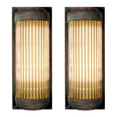 Copper and Glass Rod Wall Sconces - Matching Pair