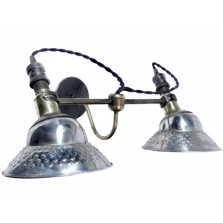 Industrial Style Double Wall Lights : Amazing Industrial Double Sconce at 1stdibs