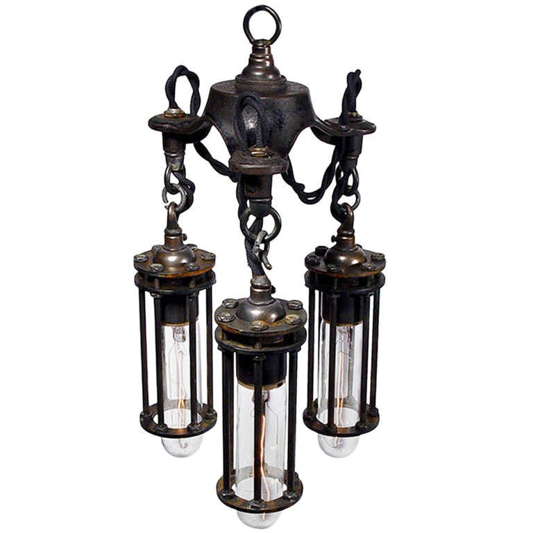 Petite 3 Cage Industrial Chandelier For Sale