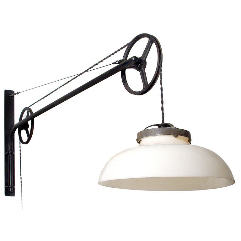 5 foot Double Pulley Swing Arm Lamp at 1stdibs