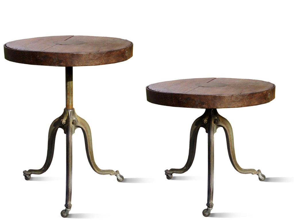 Adjustable industrial height dining or bar table 200 year old image