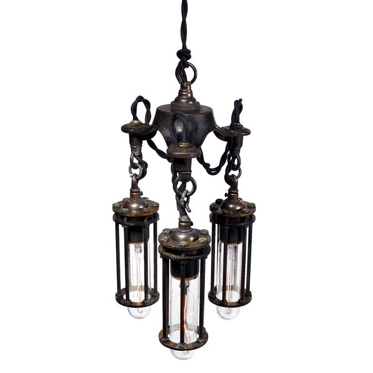 petite 3 cage industrial chandelier at 1stdibs