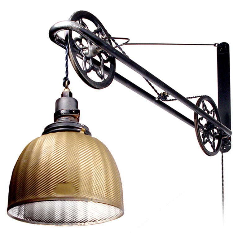 Ornate Industrial Mercury Glass Swing Arm Pulley Lamp At 1stdibs