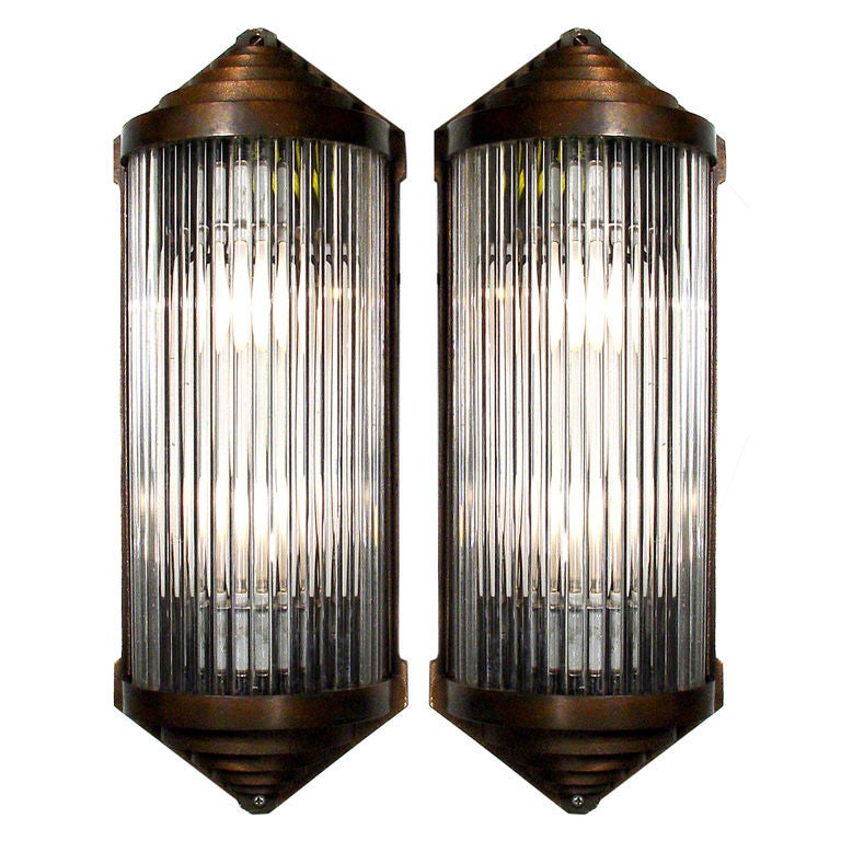 Pair Of Bronze and Glass Rod Wall Sconces at 1stdibs