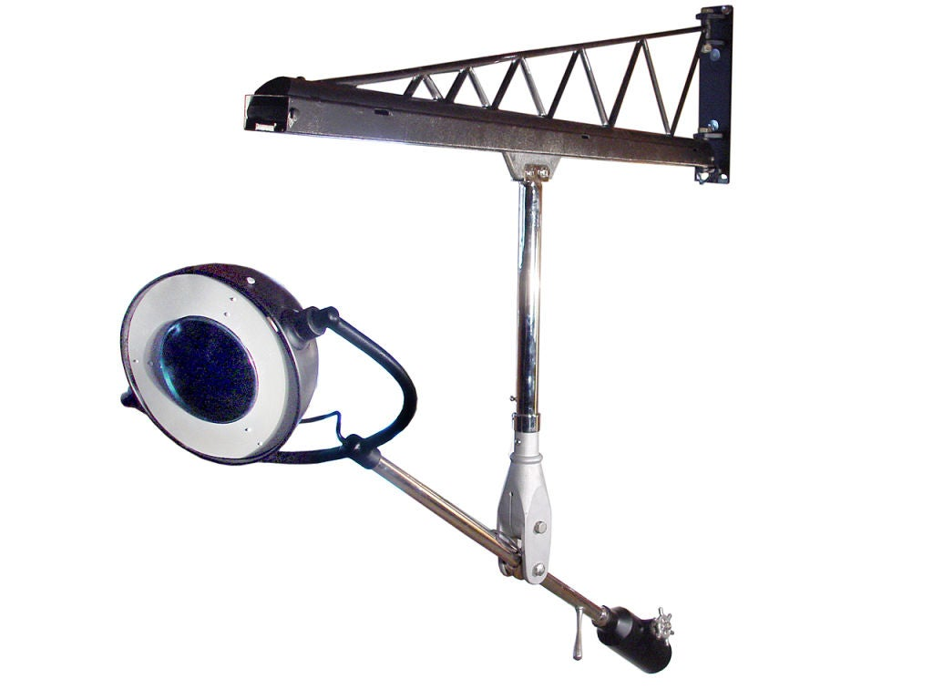 Articulating Arm Hoist : Swing arm crane rolling rail articulated lamp at stdibs
