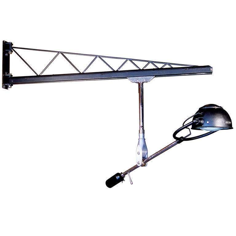 Wall Mounted Light Rail : Swing Arm Crane - Rolling Rail Articulated Lamp at 1stdibs