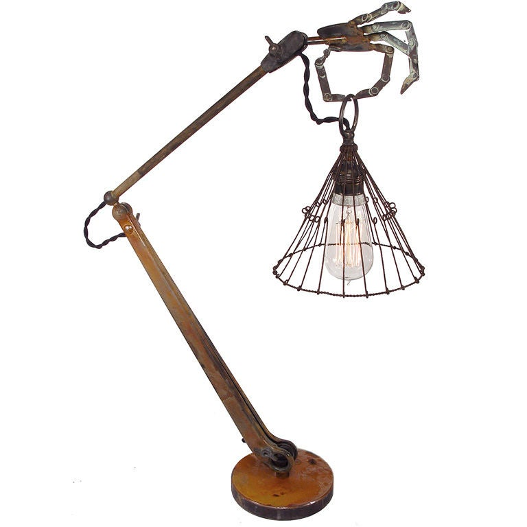 Striking And Bizarre Hand Table Lamp At 1stdibs