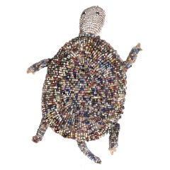 Original and Early Sioux Indian Beaded Turtle Fetish