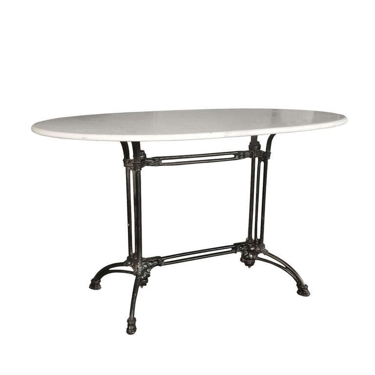Original French Bestro Table Carrara Marble And Irom At