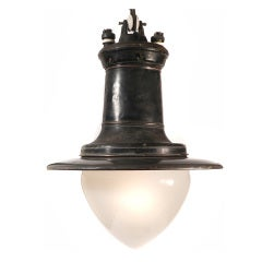 Impressive Copper, Gray Porcelain and Milk Glass Street Lamp