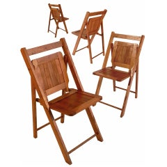 Early Wood Slat Folding Chairs - Set of 4