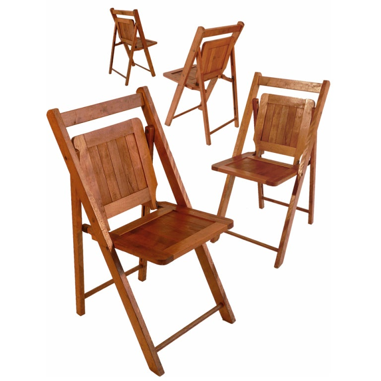 Early Wood Slat Folding Chairs   Set Of 4 For Sale