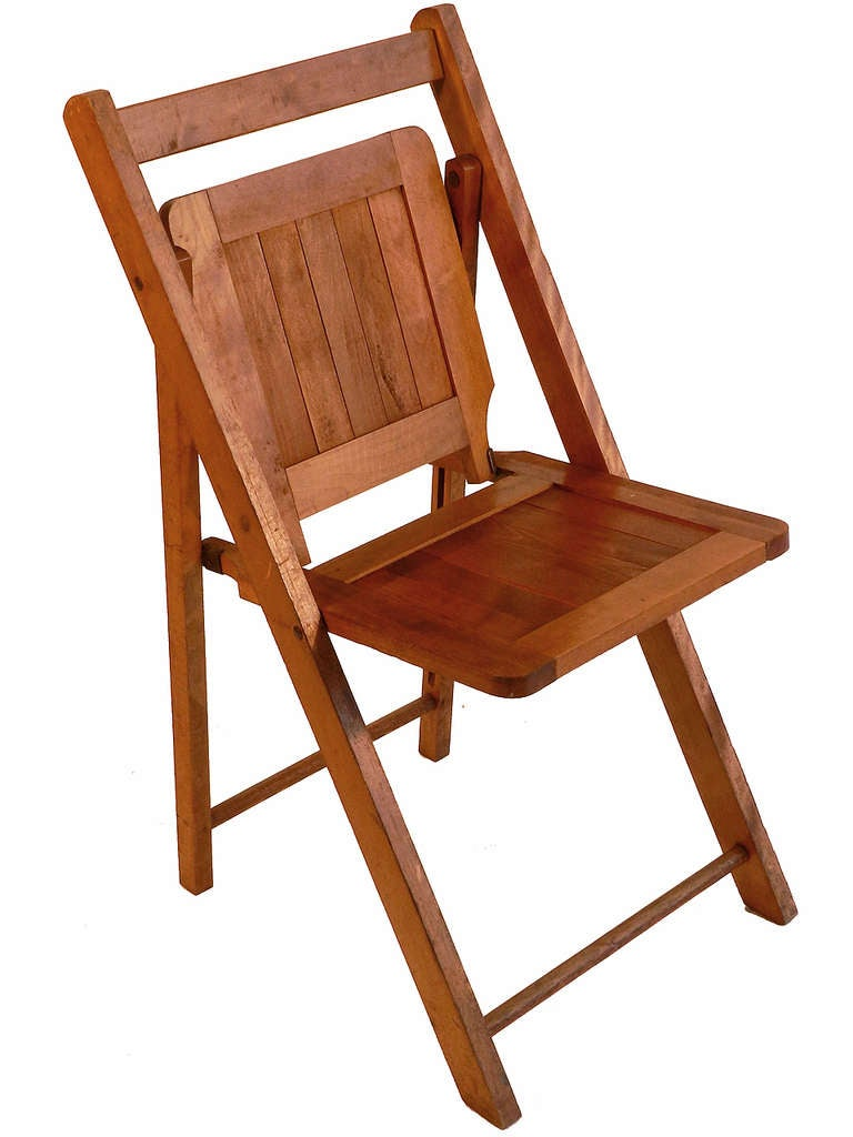 Wood Folding Chairs ~ Early wood slat folding chairs set of for sale at stdibs