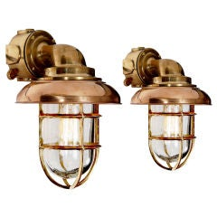 Large Pair of Heavy Ships Deck Sconce