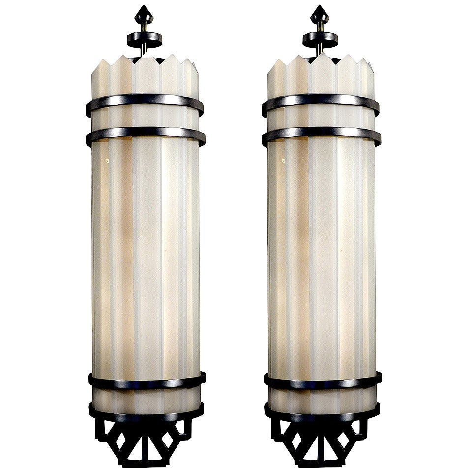 Pair of Whimsical Art Deco Theater Sconces Matching at 1stdibs