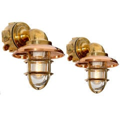 Pair of Heavy Ships Deck Sconce