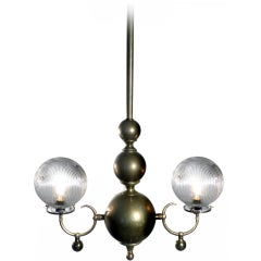 Double Globe Holophane Chandelier
