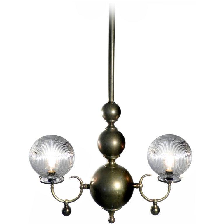 Double Globe Holophane Chandelier For Sale