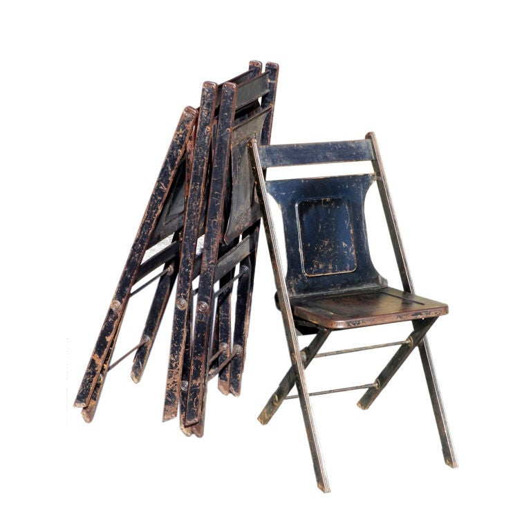 12 Metal Folding Chairs at 1stdibs