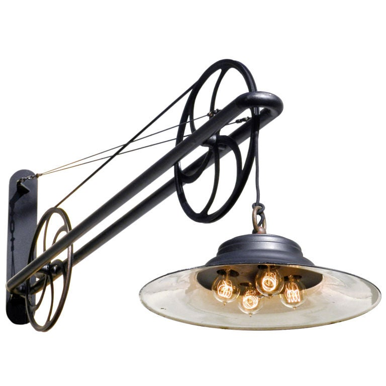 Large Pulley Industrial Swing Arm Lamp At 1stdibs